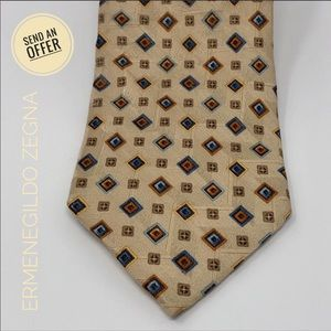 Ermenegildo Zegna Vintage Silk Tie Geometric EUC